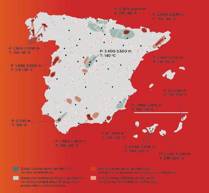 España. Potencial geotérmico alta temperatura. Fuente: Geoplat