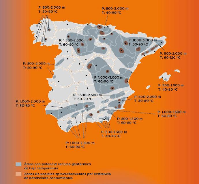España. Potencial geotérmico media baja temperatura.